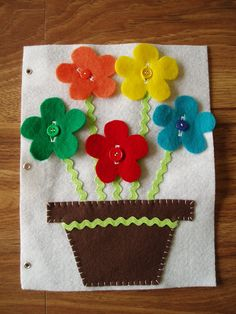 Button Flower Quiet Book Felt Page