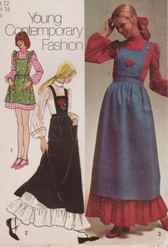 gold country girls: Patterns From The Past: Simplicity 9712 - A Dress And Bib-Jumper