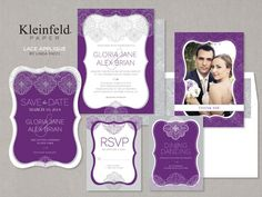 Modern Romantic Rustic Purple White Announcement Cards Escort Cards Invitations Kleinfeld Paper Place cards Reply Cards Save-the-Dates Thank-you notes Wedding Invitations Photos & Pictures - WeddingWire.com