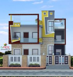 39 Ideas House Front Wall Design Indian For 2019 Building Elevation, House Elevation, House Paint Exterior, Exterior Design, Wall Exterior, House Front Wall Design, House Design, House Wall, Compound Wall Design