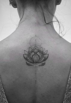 Geometric Lotus Upper Back Placement Tattoo Ideas for Women at MyBodiart.com