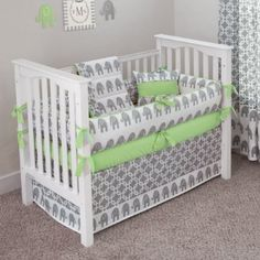 CUSTOM BOUTIQUE BABY BEDDING - Ele Green - 5 Pc Crib Bedding Set:Amazon:Baby