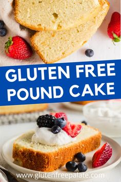 This gluten free pound cake recipe is so simple to make and is delicious on its own or topped with fresh whipped cream and berries. Gluten Free Pound Cake, Pound Cake Recipes, Gf Recipes, Gluten Free Recipes, Gluten Free Dinner, Gluten Free Desserts, Desert Ideas, Whipped Cream, Berries