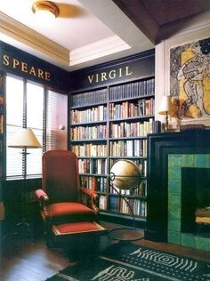 How To Design And Organize A Home Library - Hadley Court-LOVE the names of authors, maybe in the octagonal inset?