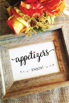 Love style of calligraphy wedding appetizers sign appetizer signage enjoy! Red heart  ****Listing only for white with black text SIGN, does NOT include frame etc***  one 5x7 sign and amount of white space on side shown depends on the frame opening.  ***signs are NOT individually handwritten, they are printed and mailed as hard copies. I do NOT provide digital formats***  Paper choices:  Matte White 110lb Cover Stock Shimmer White 105lb Cover Stock -- Shimmer is a subtle shimmer (not…