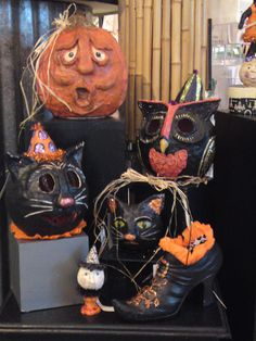 halloween for 2012 paper mache hand sculpted pumpkin cat owl kitty bucket