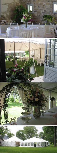 Lovely Floral arrangements at a wedding at Ruthven Park NHS www.ruthvenpark.ca Historical Sites, Floral Arrangements, Rustic, Bar, Weddings, Plants, Outdoor, Wedding Ideas, Rose Flower Arrangements