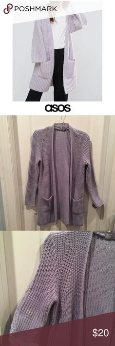 "Asos Purple Thick Open Cardigan Sweater Asos Purple Thick Open Cardigan Sweater. Front pockets. Long sleeve. 33"" long. 18.5"" bust. Meant to be oversized. Gently worn, some fuzz in the back bottom, see photo otherwise great condition. Feel free to make an offer or bundle & save! Asos Sweaters Cardigans"