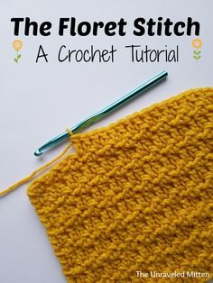 The floret stitch is an easy textured stitch, that is made by working a row of double crochets, then a row of alternating slip stitches and double crochets. Crochet Stitches For Beginners, Crochet Stitches Patterns, Knitting Stitches, Stitch Patterns, Lace Patterns, Lace Knitting, Knitting Needles, Knitting Patterns, Double Crochet