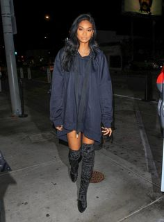 Catwalk queen: Chanel Iman showed off her enviably long, lean legs in a pair of thigh-high boots as she enjoyed a night out at celebrity hotspot Catch LA in West Hollywood on Tuesday Thigh High Boots, Over The Knee Boots, Oversized Hoodie Dress, Chanel Iman, Dress With Boots, Thigh Highs, Girl Fashion, Street Style, Model