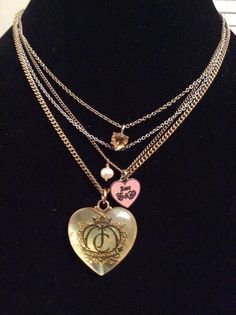 Juicy Couture Limited Edition Pendant Charm Necklace 3 Strands Silver Gold Tones #JuicyCouture #Pendant