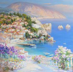 Купить Солнечный Гурзуф. Живопись - картина, картина для интерьера, большая картина, море, отдых, Крым