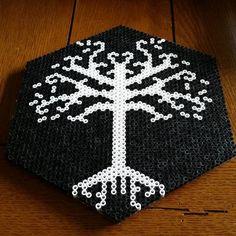 White Tree of Gondor - LOTR perler beads by sabersprites Melty Bead Patterns, Pearler Bead Patterns, Perler Patterns, Pearler Beads, Beading Patterns, Tree Patterns, Alpha Patterns, Minecraft, Perler Bead Art
