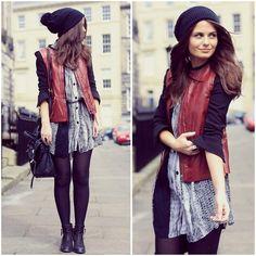 dress, leggings, leather jacket