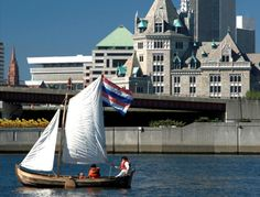 Sailing on the Hudson River behind the historic SUNY Administration Building
