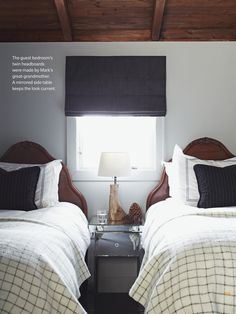 In their main house, designers Mark Robert and Jim Johnson fit two twin beds into a small guest bedroom for a snug, cabin-like feel. Modern Bedroom, Bedroom Decor, Bedroom Ideas, Girls Bedroom, Guest Bedrooms, Guest Room, Two Twin Beds, House And Home Magazine, Small Rooms