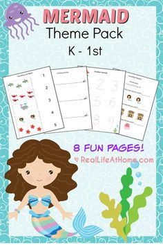 Free Eight Page Mermaid Printables Packet for Preschool and Kindergarten