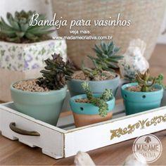 Bandeja estilo rústico-chic para vasos vasos de plantas