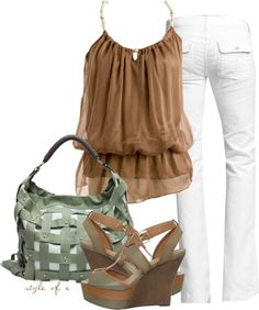 Tan and Green, created by styleofe on Polyvore