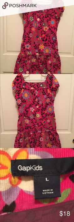 Gap floral print dress Pink floral print fine wale corduroy Gap dress - see 4th picture for fabric detail.  Size girls large which is a 10.  Cap sleeves and a flounce at the bottom - great all around dress!  Very good condition! Gap Kids Dresses Casual