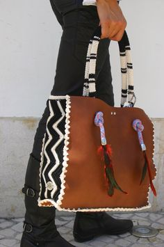 Leather and crochet bag by Nekka