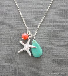 starfish, coral and turquoise trio, necklace, gift, sterling silver, chic, casual, modern