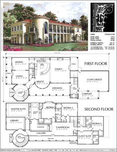 Mediterranean Home Plan. I like a lot of things about this. I would re-configure the library-master-wardrobe a little.