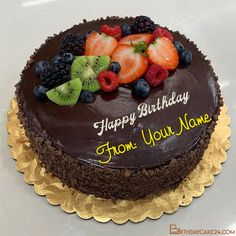 Chocolate Yummy Happy Birthday Cake With My Name