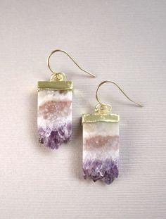 Amethyst Druzy Earrings Agate Drusy Quartz by julianneblumlo