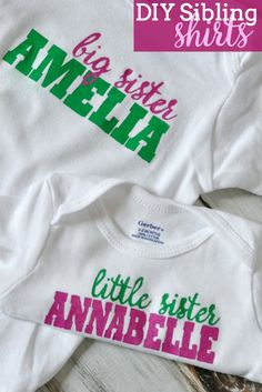 These DIY Sibling Shirts are simple to make and easily customized! Plus, they make such a great gift idea, especially for a growing family!   The Love Nerds