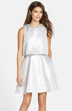 ERIN erin fetherston 'Birdie' Jacquard Flared Popover Dress available at #Nordstrom