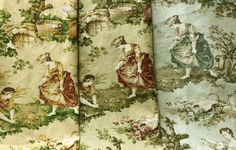 Country Toile Mix - Set of Toile Remnants - High End Toile Mill Samples - Toile Sample Mix - Mill Creek Toile - Craft Fabric Reuse Fabric, Country Scenes, Energy Use, Fabric Samples, Cotton Linen, Fabric Crafts, Unity, Etsy Store, Home Improvement