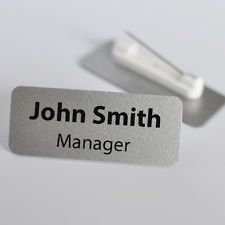 Personalised Name Badge Metallic Silver Colour Safety Pin