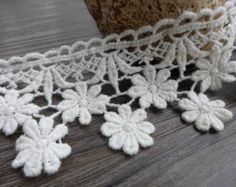 Beautiful White Lace Trim Cotton Floral Lace Decorative sewing 1.93 inches wide 2 yards
