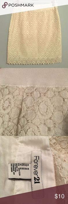 Classic white lace skirt Fully lined white lace pencil skirt from Forever 21. In excellent condition. No stains or yellowing. Lace in perfect condition. Worn twice. Forever 21 Skirts Pencil