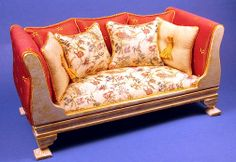 LORRAINE SCUDERI MINIATURES Sides are padded Cushions are custom printed By Lorraine Scuderi
