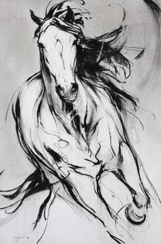 size: Stretched Canvas Print: Force Blanche 9 by Cyril Réguerre : Using advanced technology, we print the image directly onto canvas, stretch it onto support bars, and finish it with hand-painted edges and a protective coating. Horse Drawings, Animal Drawings, Pencil Drawings, Art Drawings, Charcoal Drawings, Drawing Animals, Drawing Art, Horse Pencil Drawing, Pencil Art