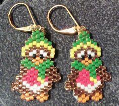 Cheeky robins hand beaded earrings £4.00
