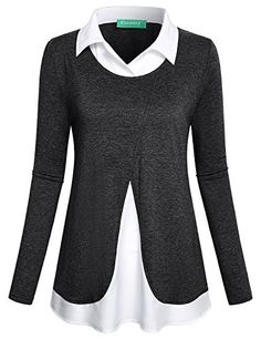 bc6bf0764ba08 Shop a great selection of Kimmery Women s Long Sleeve Collared Patchwork 2  1 Layered Top Blouse. Find new offer and Similar products for Kimmery  Women s ...