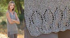 La tunique à festons tricotéeCet été, soyez belle comme une sirène, avec cette tunique tricotée dans un fil soyeux et argenté au point jersey avec des côtes 2/2 et un point fantaisie.