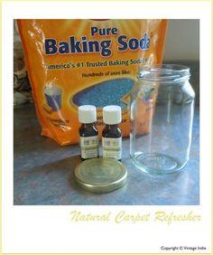 Homemade carpet freshener: 1 mason jar + 2/3 full of baking soda + 3 drops lavender and sweet orange essential oils.