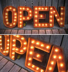 OPEN SIGN marquee lights with patina by littlefishdesigns on Etsy. $525.00 USD, via Etsy.