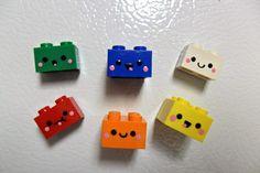 Kawaii Recycled Toy  Building Bricks Magnets. via Etsy.