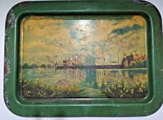 Old Antique India Iron Tin Serving Floral Litho Print Tray Rare Collectible Tray #Old