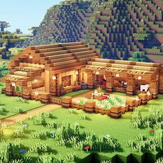 Learn how to build a barn and farm with this simple tutorial. This is a super fun Minecraft build idea for you to try. Minecraft Stables, Minecraft Barn, Minecraft Kingdom, Minecraft House Plans, Minecraft Mansion, Minecraft Houses Survival, Easy Minecraft Houses, Minecraft House Tutorials, Minecraft Construction