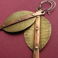 Mixed Metal Earrings  Copper  Brass   Sterling by suntribedesigns, $54.00 by paulette