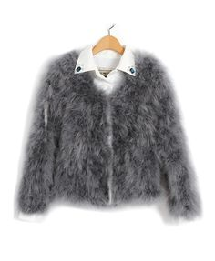 Gray Fur Jacket with Diamanted Leather Collar