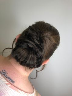 hair up. Twist Curls, Up Hairstyles, Dark Hair, Updos, Stylists, Ear, Tattoos, Up Dos, Hairdos