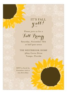 Nothing says a summer wedding quite like sunflowers and lace! That is why Polka Dot Design offers a variety of sunflower bridal shower invitations for you to choose from on the invitation store website. Celebrate the bride's love and success. Fall Party Invitations, Wedding Invitation Video, Bridal Shower Invitations, Fall Wedding Centerpieces, Fall Wedding Bouquets, Wedding Reception Tables, Fall Wedding Arches, Fall Wedding Colors, Summer Wedding