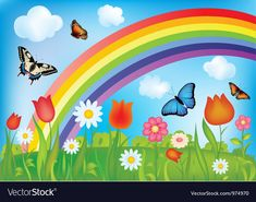 With butterflies rainbows and flowers Royalty Free Vector , Murals For Kids, Art For Kids, Crafts For Kids, School Wall Decoration, School Decorations, Rainbow Garden, Rainbow Art, Rainbow Butterfly, Flower Background Wallpaper